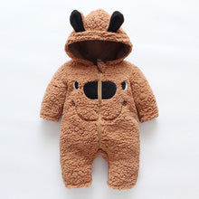Load image into Gallery viewer, Winter Kids  Baby's Clothing Rompers Lamb Velvet Padded Smiling Cute Bear Face Print Baby Boy Girls Jumpsuit Infant clothing - shopbabyitems