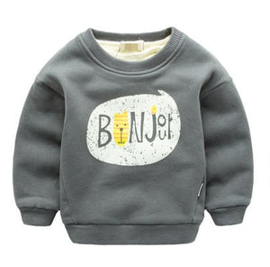 Winter Kids Plus velvet sweatshirts hoodies Thick cotton Fashion Baby Boys girl Warm Cashmere coat - shopbabyitems