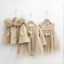 Load image into Gallery viewer, Winter Toddler Girl Clothes Set Net Yarn Splicing Vest Dress Thick Coat Hooded Cloak 3pcs Set for Girl Kids Fashion Pricess Suit - shopbabyitems