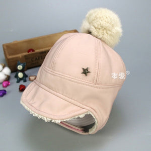 Winter Warm Baby Beanie Hat With Pompom Protect Ear Cap For Baby - shopbabyitems