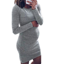Load image into Gallery viewer, Winter Women Pregnancy Dresses Long Sleeve Solid Color Mini Dress For Maternity - shopbabyitems