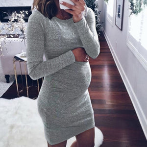 Winter Women Pregnancy Dresses Long Sleeve Solid Color Mini Dress For Maternity - shopbabyitems