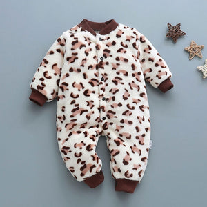 Winter baby boys girls clothing leopard Fleece jumpsuit set - shopbabyitems