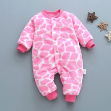 Load image into Gallery viewer, Winter baby boys girls clothing leopard Fleece jumpsuit set - shopbabyitems