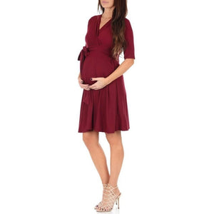 Women's Faux Wrap Maternity Dress with Adjustable Belt V Neck Breastfeeding Pregnancy Dresses - shopbabyitems