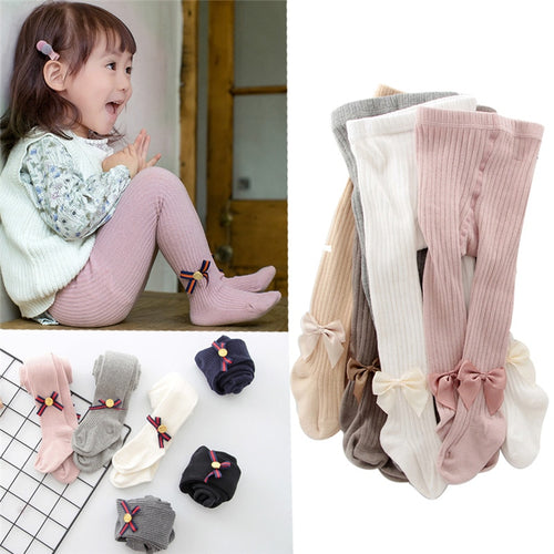0-10 Yrs Children Spring Autumn Winter Bowknot Tights Cotton Baby Girls Pantyhose - shopbabyitems