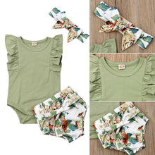 Load image into Gallery viewer, Baby Short Pants Headband 3Pcs Outfits Clothes - shopbabyitems