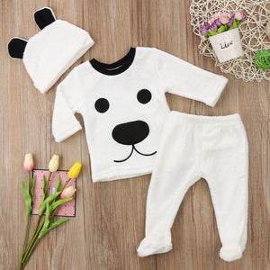 3 pieces Long Sleeve Fleece Bear Top Pant and Hat Set - shopbabyitems