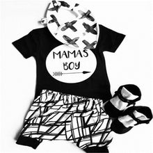 Load image into Gallery viewer, 0-24 Months Baby Boys Clothes Set Black Letter Print Tshirt For Boys White Striped Pants Leggings Baby Boys Clothing Newborn Set - shopbabyitems
