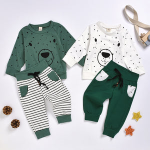 Cartoon Bear Sweatshirt Tops+ Pants Outfits Set - shopbabyitems