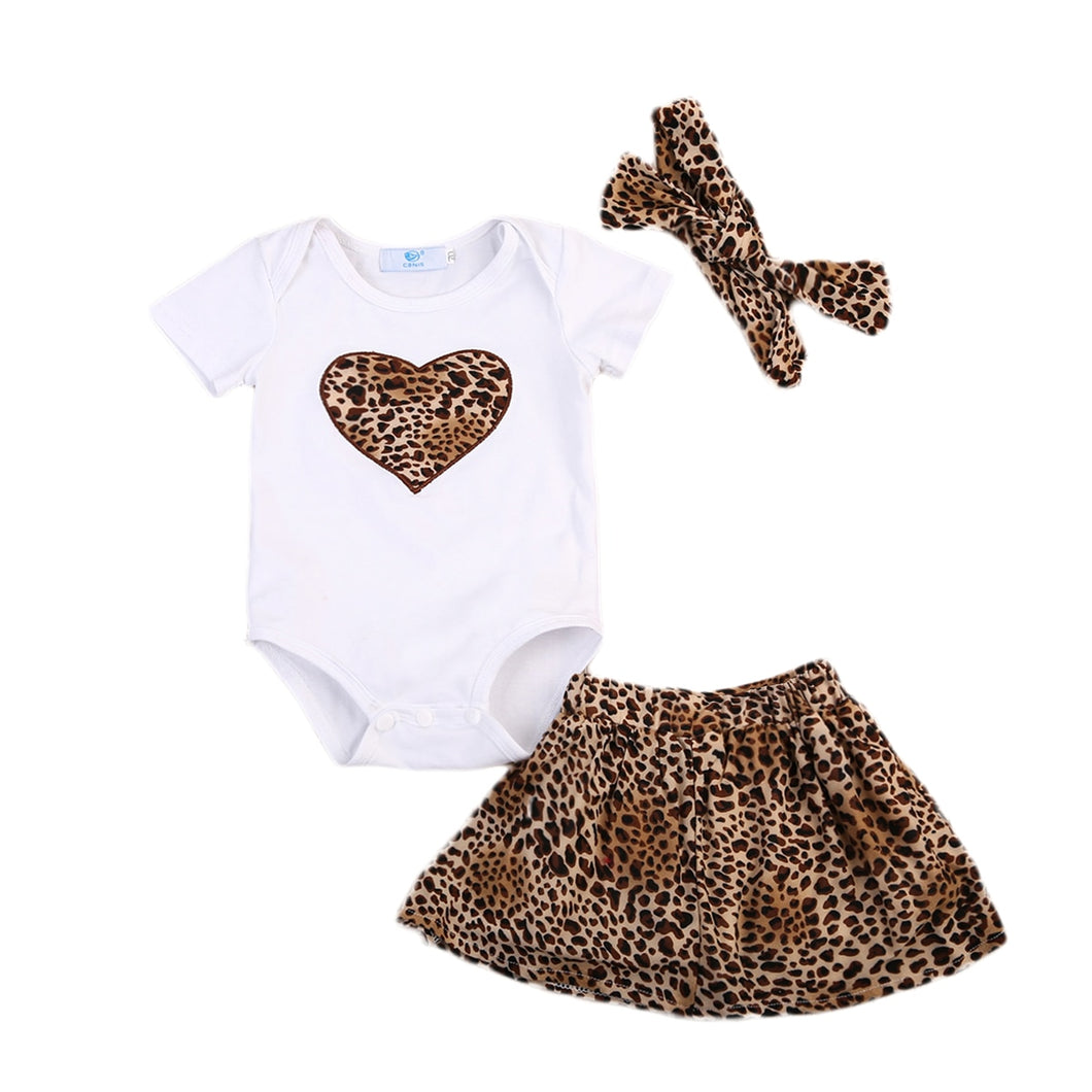 Baby Leopard Romper + Tutu Skirt+Headband Birthday Party Outfit - shopbabyitems