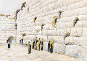 The Western Wall in White and Gold Giclee Print