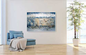 Abstract By The Kotel Blue and Gold. Original 51x31.5 inch
