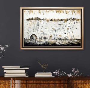 Black and White Silhouette At The Kotel Giclee Print