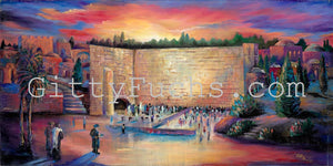 The Western Wall at Midnight Mixed Media