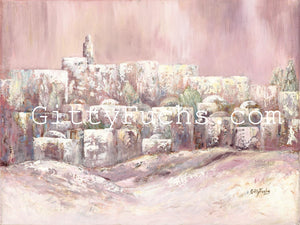 Heavenly Jerusalem Painting Pale Pink Giclee Print