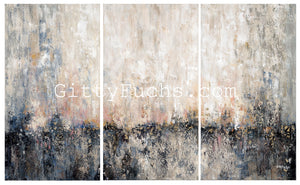 Triptych in Pink Mixed Media