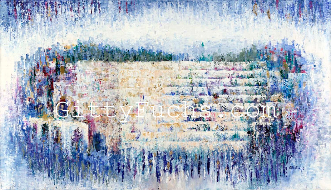 The Kotel in Blue Abstract