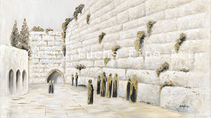 The Western Wall in White and Gold Mixed Media