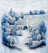Load image into Gallery viewer, Jerusalem Painting Walking By Yards To The Western Wall Giclee Print