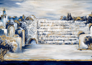 Jerusalem Dream Atmosphere Huge Neutrals Blue & Gold Original 59x33.5 inch