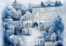 Load image into Gallery viewer, Jerusalem Painting Walking By Yards To The Western Wall Original 51x47 inch