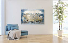 Load image into Gallery viewer, Abstract By The Kotel - Blue Gold Brown Giclee Print