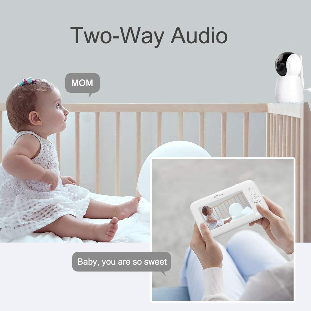 Video Baby Monitor with Camera and Audio,up to1200ft of Range, VOX Audio Monitoring, Room Temperature, Night Vision, 2 Way Talk, and 4 Lullabies Play - atrocare