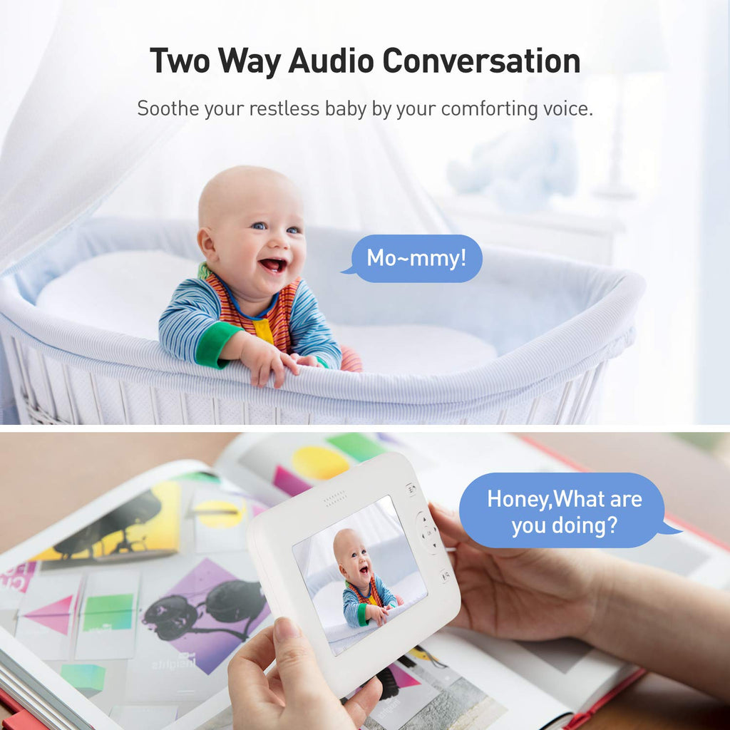 "Baby Monitor, 4.3"" Video Baby Monitor with Camera Audio, Long Battery Life/VOX, 1000ft Range, Room Temperature & Accurate Audio Sensor, Infrared Night Version, 2-Way Audio, Out of Range Alert - atrocare"