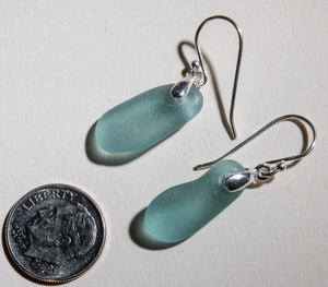 pretty aqua sea glass earrings - sterling settings