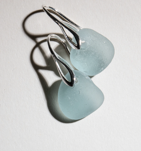 small light aqua-blue sea glass earrings - sterling art deco settings