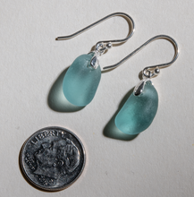 Load image into Gallery viewer, Small dangles of teal sea glass earrings made with sterling silver bales and ear wires