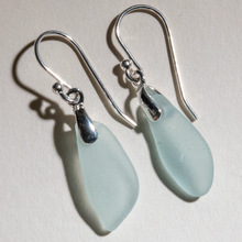 Load image into Gallery viewer, small, dangly, light aqua sea glass earrings - sterling settings