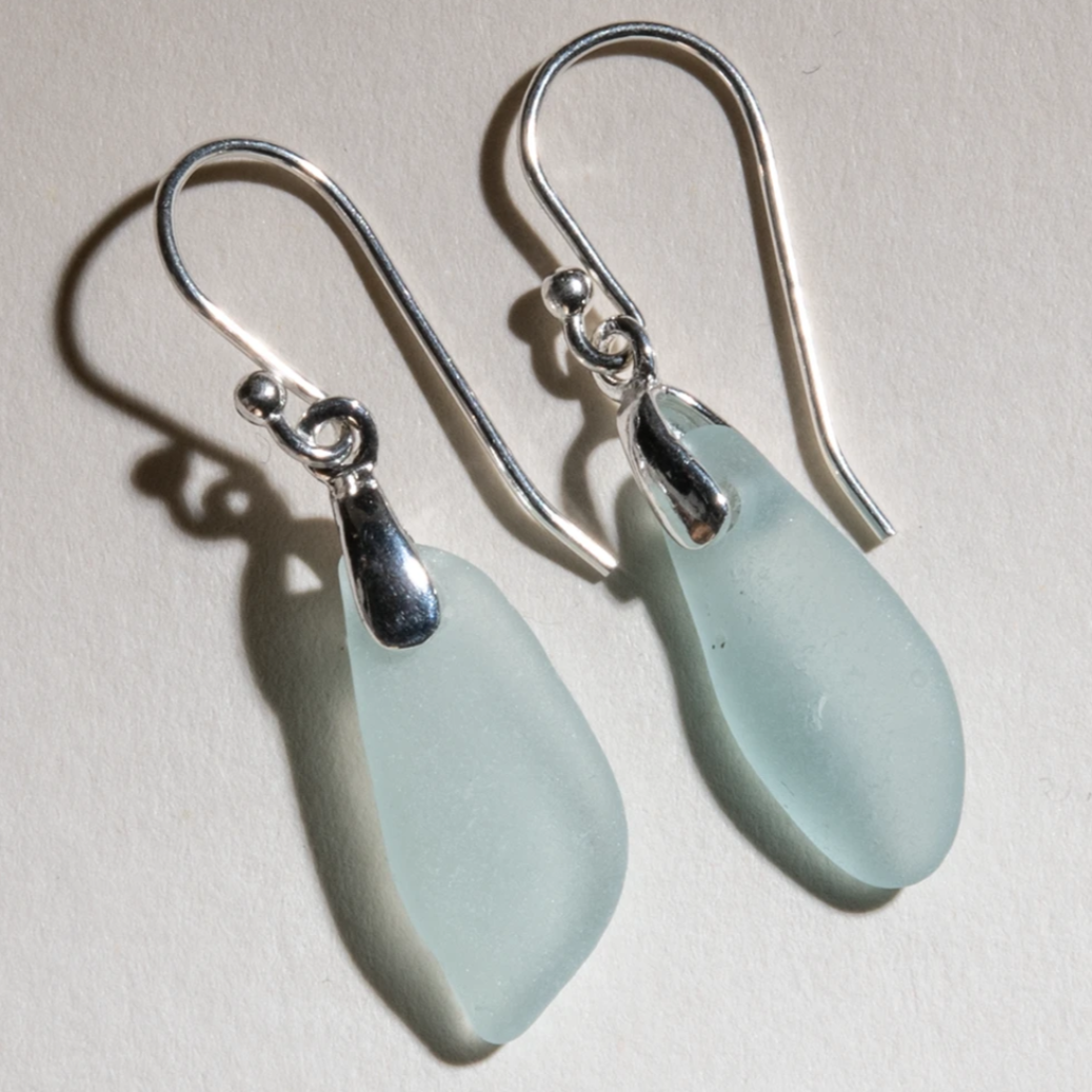 small, dangly, light aqua sea glass earrings - sterling settings