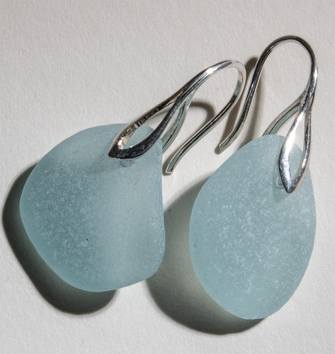 light aqua-blue sea glass earrings - sterling settings