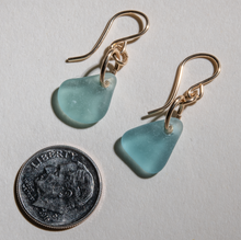 Load image into Gallery viewer, Small dangles of teal sea glass earrings made with 14 karat gold fill settings and ear wires
