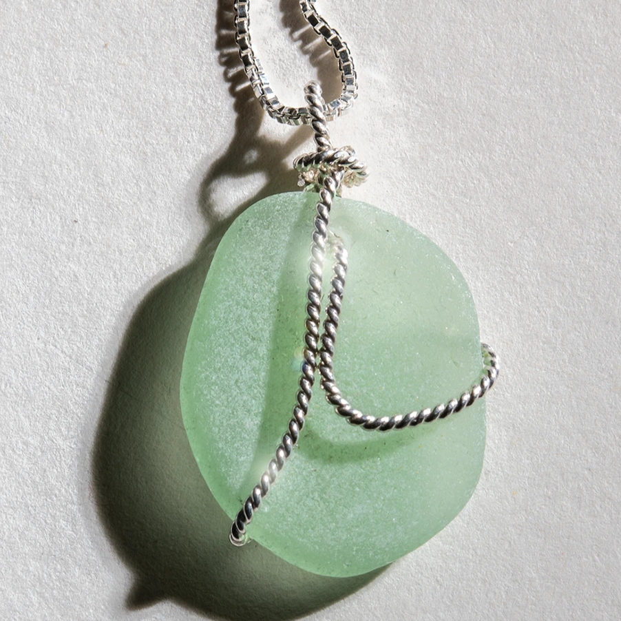 Sea-Mist aqua-green sea glass overlaid with sterling silver on a 24 inch sterling chain.