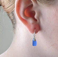 Load image into Gallery viewer, Petite, Rare Cobalt Blue Sea Glass Earrings - Sterling Silver