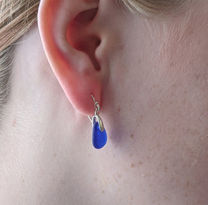 Cobalt Blue Sea Glass Earrings - Sterling Silver