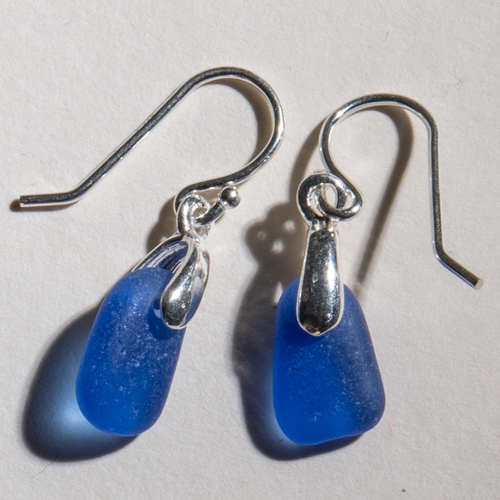 Rare cobalt blue sea glass earrings with sterling settings and sterling ear wires. Small size