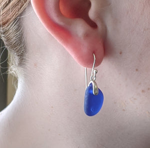 Rare Cobalt Blue Sea Glass Earrings