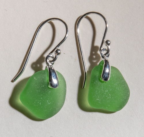 small, bright green sea glass earrings with sterling silver