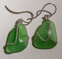 Load image into Gallery viewer, green sea glass earrings with sterling silver overlay design
