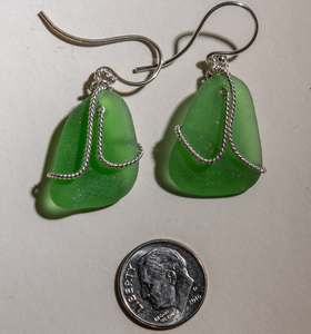 green sea glass earrings with sterling silver overlay design