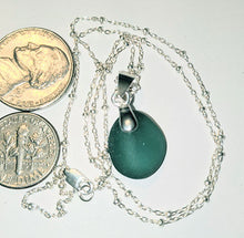 Load image into Gallery viewer, Petite Rich Teal Sea Glass Necklace - Sterling Silver