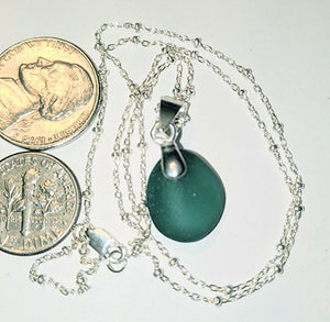 Petite Rich Teal Sea Glass Necklace - Sterling Silver
