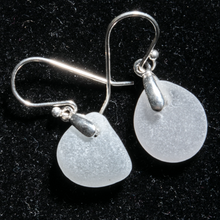 Load image into Gallery viewer, Small white sea glass earrings with sterling settings and sterling ear wires.
