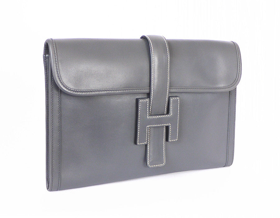 d5cb961727a0 get hermes jige pm clutch bag gray box calf leather vintage garo luxury  authentic luxury 4687e