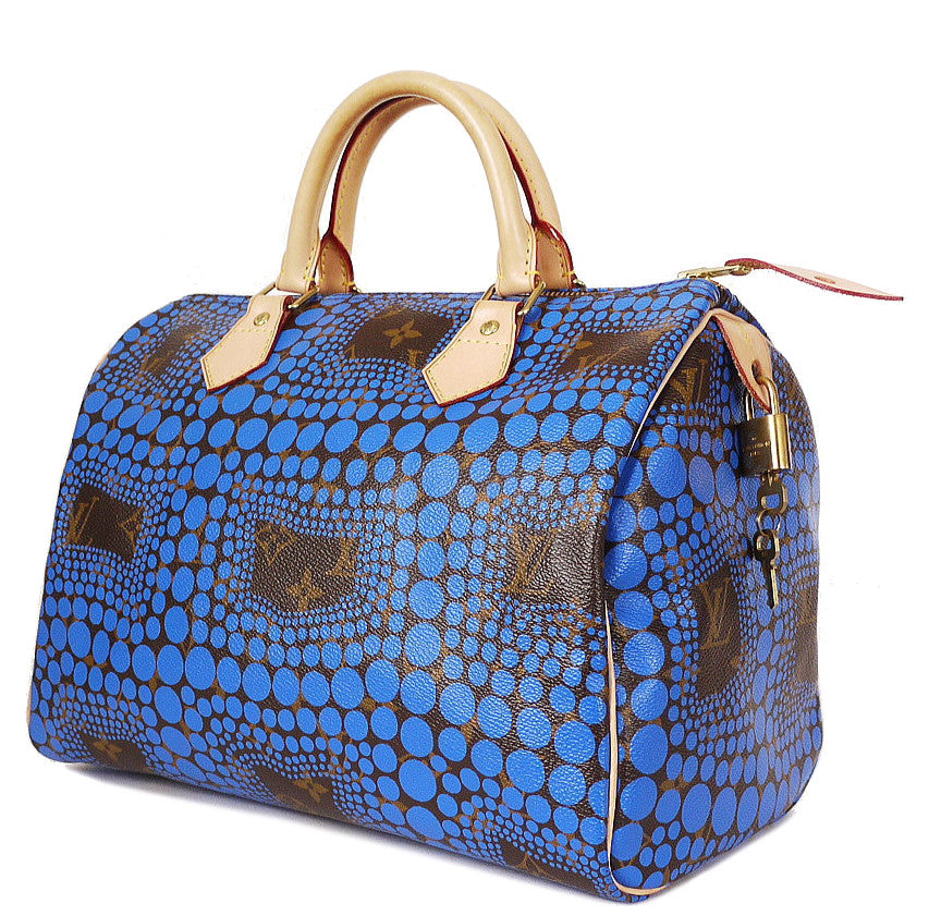 Louis Vuitton C.2012 Yayoi Kusama Blue monogram Town Speedy 30 Polka Dot Purse