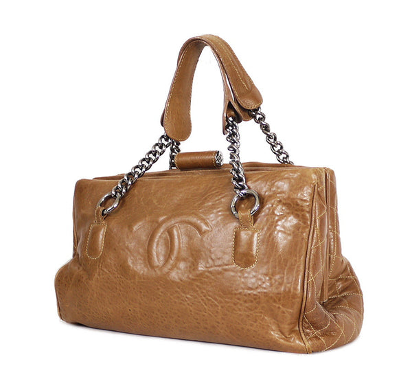 Chanel Brown Leather Large Tote, Shoulder Bag Rare Gst - Garo Luxury - Authentic Luxury Handbags & Jewelries - 1